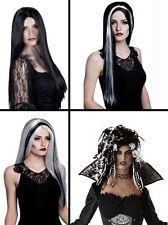 Mujer Negro Blanco Gris Bruja De Halloween Vampiro Peluca Disfraz NUEVO