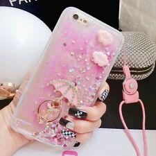 Bling Glitter Pink Quicksand Umbrella Soft Dynamic Back Cover Case & neck strap
