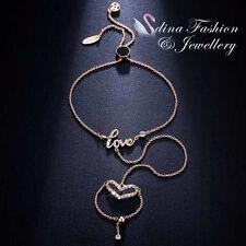 18K White & Rose Gold Plated CZ Finger Heart Ring Hand Chain Harness Bracelet