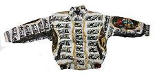 Kid's Metalic Silk Jacket Color White and BlackHorseman Design(Chamarra de seda)