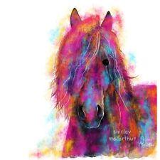 "Horse Stampa Wall Art DIPINTO ORIGINALE DI ""FRISONE Wild 'da Shirley MacArthur"