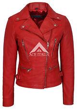 Ladies Leather Jacket Red Smart Fit Fashion Designer 100% REAL NAPA JACKET 2100