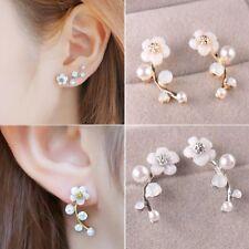 Women Fashion Flower Pearl Ear Stud Earrings Charm Jewelry Gift Party Holiday