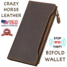 Men's RFID Block Crazy Horse Leather ID Window Zipper Pocket Long Clutch Wallet