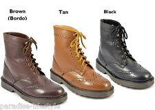 Mens Chelsea Boots Ankle High Lace-up Dealer Brogue Shoe Size 6 7 8 9 10 11 12
