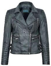 Ladies Vintage Biker Jacket Grey Classic Designer Fashion 100% REAL LEATHER 7120
