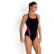 Speedo Damen Damen Wettbewerbsfähige schwarz rosa Bademode Badeanzug