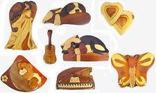 Hand made Wood Intarsia Puzzle Box, Angel, Dog, Cat, Piano, Bear, Saxophone, PZB