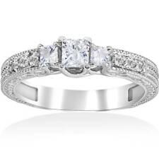 Princess Cut 3/4ct Vintage Diamond 3 Stone Engagement Ring 14K White Gold