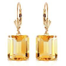13 cttw Natural Citrine Emerald Cut Gemstones Leverback Earrings 14K. Solid Gold