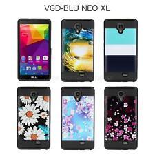 For BLU NEO XL N110L Tough Hybrid w Soft Gel Design Case Cover + Screenguard