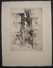 1928 Anton Schutz Etching Print Arima Street Kobe Japan
