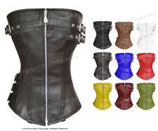 Heavy Duty Full Steel Boned Waist Training Leather Overbust Corset #9099-LE