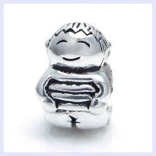.925 STR Silver CUTE BABY Little BOY KID Smiling Bead f/ European Charm Bracelet