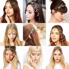 Women Boho Metal Rhinestone Head Chain Jewelry Head Piece Hair Band Headband AD