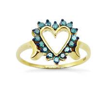 10K Yellow Gold Blue Diamond Ring .25ct Blue Diamond Heart Ring Great Gift