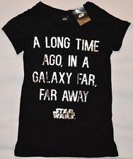 Primark Star Wars T Shirt Disney donna BLACK & SILVER UK 4-20 NUOVI
