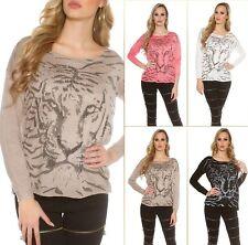 Sexy Koucla Pullover Pulli Strickpullover Sweater mit Tigerprint und Strass