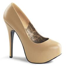 """Bordell 5 3/4"""" tan matte platform clubwear pumps"""