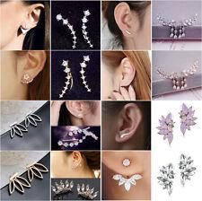 Newest Crystal Fashion Jewelry Vintage Leaves Back hanging Stud Earrings Women