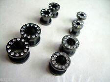 1 PAIR Clear CZ Gem Black Anodized Titanium Steel Screw Ear Plug Tunnels