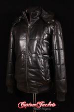 Para Hombre Colorado Con Capucha Negro Puffer Down Acolchado Piel De Cordero chaqueta de abrigo