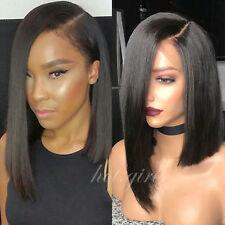Remy Malaysian Human Hair Wig Lace Front Full Wig Women Bob Natural Black H820