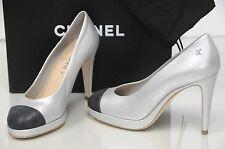 $950 New Chanel 15C Metallic Silver Black Leather Platform Shoes 36.5 37.5 39 40