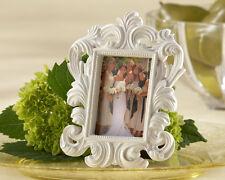 Blanco-Elegante Barroco marco de fotos de boda favor | Portatarjetas del lugar | Bridal