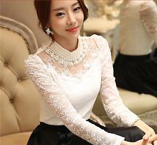 Elegant Classy Lace Blouse Slim Vintage Beaded Classic Crochet Fancy High Neck