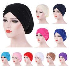 Women Beads Elastic Turban Hat Muslim Chemo Cap Hijab Arab Head Scarf Wrap Cover