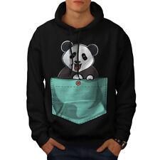 Wellcoda Cute Lil Panda Mens Hoodie, Pocket Bear Casual Hooded Sweatshirt
