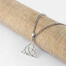 1 x Antique Silver Celtic Knot Trinity Triquetra Charms Pendant Necklace 18-24''