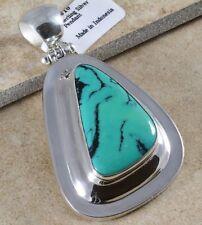 "BEAUTIFUL TURQUOISE & .925 Silver BALI PENDANT ~2 5/16"""
