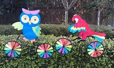 Garden Windmill Decoration - OWL/PARROT on bike