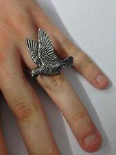 B34 Wood Pigeon English Pewter Ladies Ring, Adjustable Handmade in Sheffield