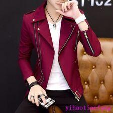 Korean Fall Fashion Men Jacket Zipper Lapel Slim Fit Casual Coat Outdoor Party S