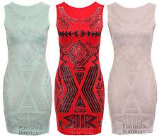New Ladies Sleeveless Beaded Tribal Pattern Women's Bodycon Dress