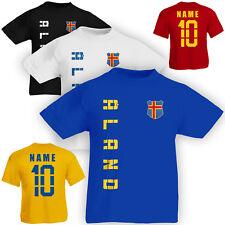 Kinder T-Shirt Trikot Åland Aland inkl. Name & Nummer S M L XL XXL Fussball Tea