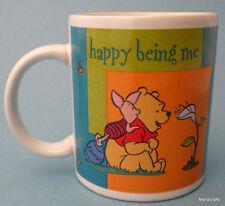 Coffee Mug Disney Winnie Pooh & Friend Piglet Happy Being Me Bold Colors Vtg