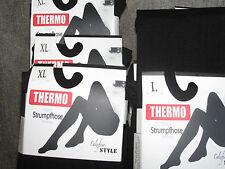 Thermostrumpfhose schwarz, blickdicht, winterwarm, Größe L bis XXL