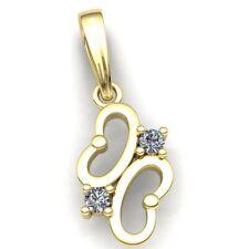 Real 0.4carat Round Cut Diamond Ladies 2 Stone Butterfly Pendant 10K Gold
