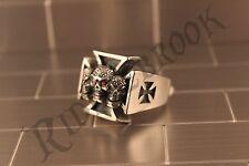 316L Stainless steel skull Iron cross WW2 Nazi Biker ring Size US7-14
