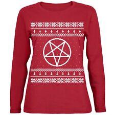 White Satanic Pentagram Ugly Christmas Sweater Red Womens Long Sleeve T-Shirt