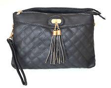 BORSELLO NERO borsa donna eco pelle tracolla oro borsetta sac bag H18