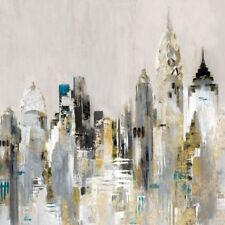 Valeria Mravyan: Golden Cityscape Keilrahmen-Bild Leinwand Skyline Hochhäuser