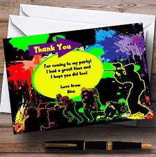 Paintball Laser Tag Personalizado Fiesta De Cumpleaños Tarjetas De Agradecimiento