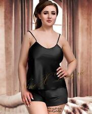 Satin Shorts Pjs Set Nightwear Black Pink White Blue 8 10 12 14 16 18 20 22 24
