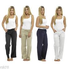 Ladies Basic Linen Trousers, Elasticated Waist Summer Linen Pants, Size 10-18