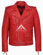 'BRANDO SLIM FIT' Men's Red Designer Fitted Real Lambskin Leather Biker Jacket